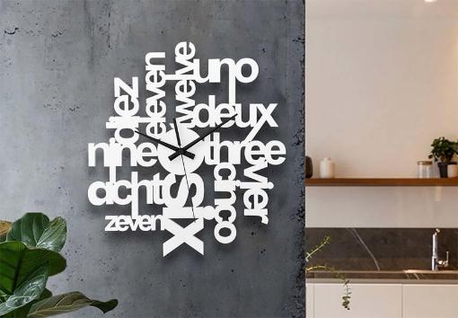 White Letter Design Wall Clock