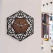 Meshed Hexagon Design Wall Clock Black
