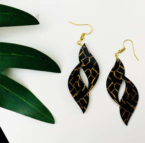 Glossy Leaf Art  Earrings