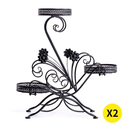 Picture of 2X Plant Stand Outdoor Indoor Flower Pot Metal Corner Shelf Garden Home Decor AU | Free Delivery