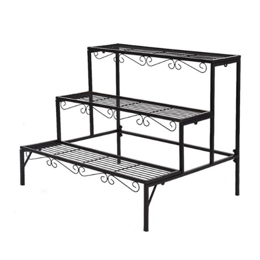 Picture of Levede Plant Stand 3 Tier Rectangle Metal Flower Pot Planter Corner Shelf Black | Free Delivery