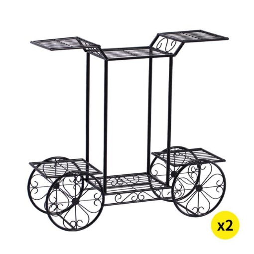 Picture of 2x Plant Stand Outdoor Indoor Pot Garden Decor Flower Rack Wrought Iron 4Wheeler | Free Delivery