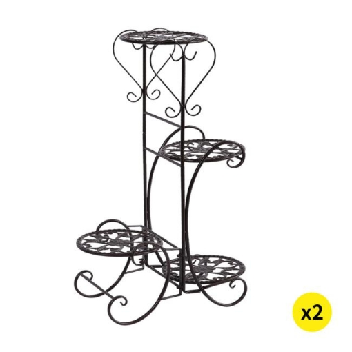 Picture of 2x Levede Flower Shape Metal Plant Stand with 4 Plant Pot Space in Black Colour | Free Delivery