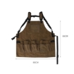 Picture of Waxed Canvas Tool Apron Adjustable Workshop Chef Waterproof Woodworking Pockets | Free Delivery