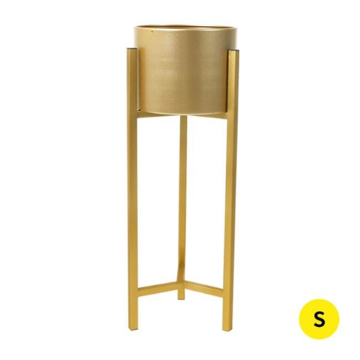 Picture of Plant Stand Garden Planter Metal Flower Pot Rack Corner Shelving Indoor  Outdoor Small Gold | Free Delivery