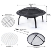 "Picture of 22"" Portable Outdoor Fire Pit BBQ Grail Camping Garden Patio Heater Fireplace 