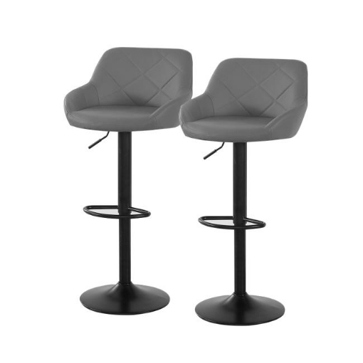 Picture of 2x Bar Stools Stool Kitchen Chairs Swivel PU Barstools Industrial Vintage Grey | Free Delivery