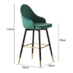 Picture of 2x Bar Stools Stool Kitchen Chairs Swivel Velvet Barstools Vintage Green | Free Delivery