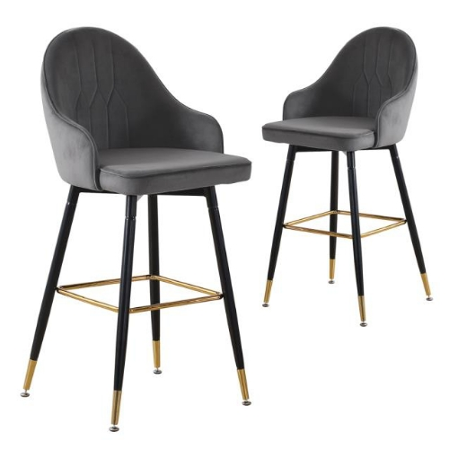 Picture of 2x Bar Stools Stool Kitchen Chairs Swivel Velvet Barstools Vintage Grey | Free Delivery