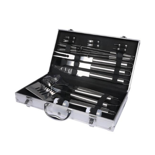 Picture of 18Pcs Stainless Steel BBQ Tool Set Outdoor Barbecue Utensil Aluminium Grill Cook | Free Delivery