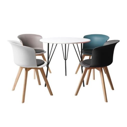 Picture of Office Meeting Table Chair Set 4 PU Leather Seat Dining Tables Chair Round Desk Type 1 | Free Delivery