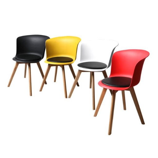 Picture of 4Pcs Office Meeting Chair Set PU Leather Seats Dining Chairs Home Cafe Retro Type 2 | Free Delivery