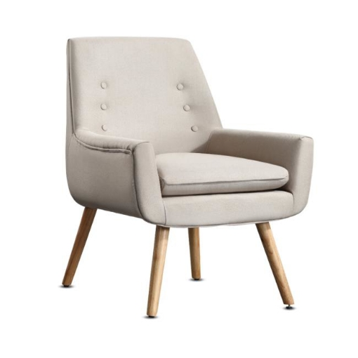 Picture of Levede Upholstered Fabric Dining Chair Kitchen Wooden Modern Cafe Chairs | Free Delivery