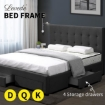 Picture of Levede Bed Frame Base With Storage Drawer Mattress Wooden Fabric Queen Dark Grey | Free Delivery