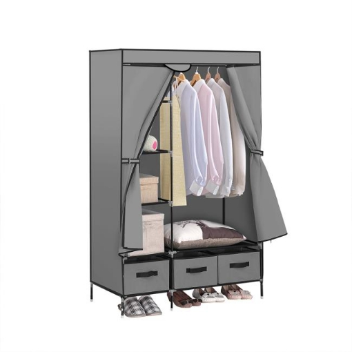 Picture of Levede Portable Clothes Closet Wardrobe Grey Storage Cloth Organiser Unit Shelf Rack | Free Delivery