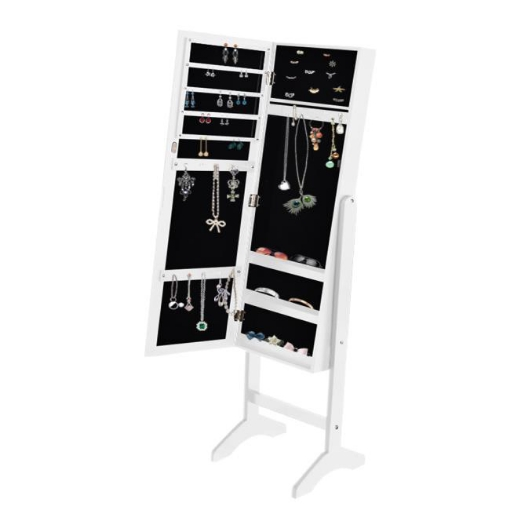 Picture of Levede Mirror Jewellery Cabinet Makeup Storage Jewelry Organiser Box Floor Stand | Free Delivery