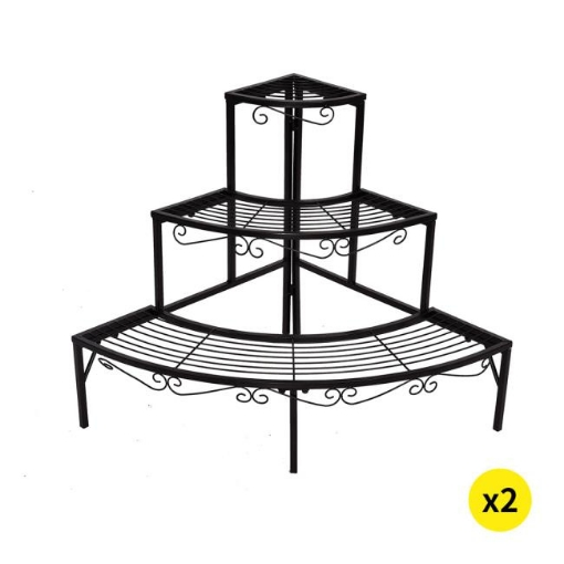 Picture of 2x Levede Outdoor Indoor Plant Stand Garden Metal 3 Tier Planter Corner Shelf | Free Delivery
