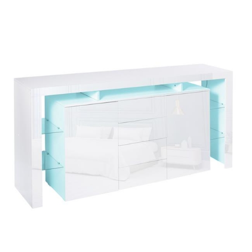Picture of Levede Buffet Sideboard Cabinet Storage Modern High Gloss Cupboard Drawers White 192cm | Free Delivery