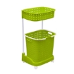 Picture of 2 Tier Bathroom Laundry Clothes Baskets Bin Hamper Mobile Rack Removable Shelf | Free Delivery