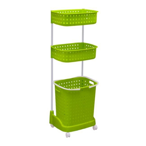Picture of 3 Tier Bathroom Laundry Clothes Baskets Bin Hamper Mobile Rack Removable Shelf | Free Delivery