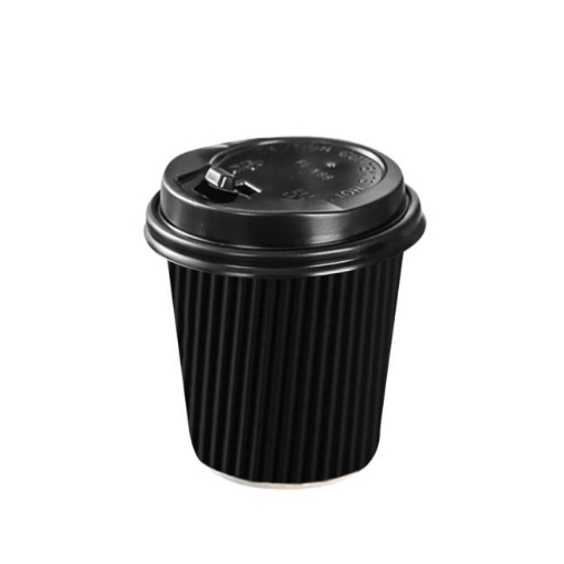 Picture of 50 Pcs 8oz Disposable Takeaway Coffee Paper Cups Triple Wall Take Away w Lids | Free Delivery