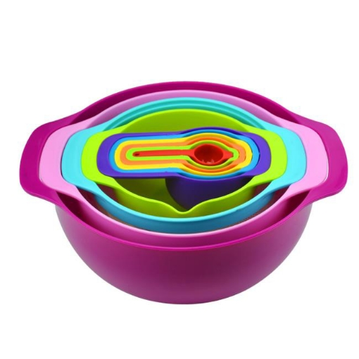 Picture of 10 Pcs Nesting Rainbow Measuring Cups Mixing Bowls with Handles Sieve Spoon   Free Delivery