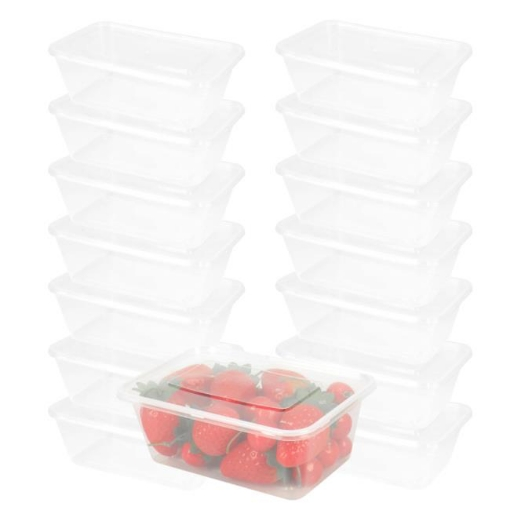 Picture of 100 Pcs 1000ml Take Away Food Platstic Containers Boxes Base and Lids Bulk Pack | Free Delivery