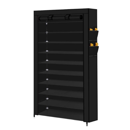 Picture of Levede 10 Tier Shoe Rack Portable Storage Cabinet Organiser Wardrobe Black Cover   Free Delivery
