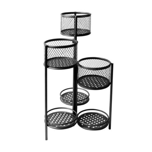 Picture of 6 Tier Plant Stand Swivel Outdoor Indoor Metal Stands Flower Shelf Rack Garden Black | Free Delivery