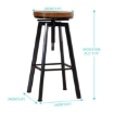 Picture of 2x Levede Industrial Bar Stools Kitchen Stool Wooden Barstools Swivel Chiars | Free Delivery