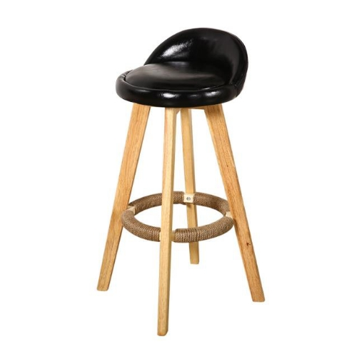 Picture of 2x Levede Leather Swivel Bar Stool Kitchen Stool Dining Chair Barstools Black | Free Delivery