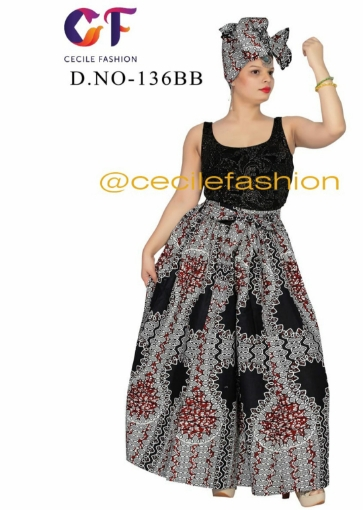Traditional Patch-Print Maxi Skirt
