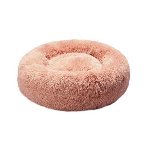 Picture of Pet Bed Cat Dog Donut Nest Calming Kennel Cave Deep Sleeping Pink L | Free Delivery