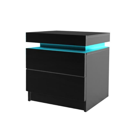 Picture of Levede Bedside Tables Drawers RGB LED Side Table High Gloss Nightstand Cabinet   Free Delivery