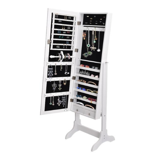 Picture of Levede Mirror Jewellery Standing Cabinet Makeup Storage Jewelry Organiser Box | Free Delivery