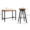 Picture of Levede 3pc Industrial Pub Table Bar Stools Wood Chair Set Home Kitchen Furniture | Free Delivery