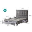 Picture of Levede Storage Bed Frame Queen Size Base with Three Drawers Linen Cotton Grey | Free Delivery