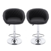 Picture of 2x Bar Stools Stool Kitchen Chairs Swivel PU Leather Metal Furniture Black | Free Delivery