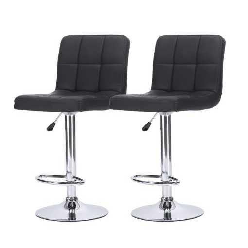 Picture of 2x Bar Stools Stool Kitchen Chairs Swivel PU Leather Metal Industrial Black   Free Delivery