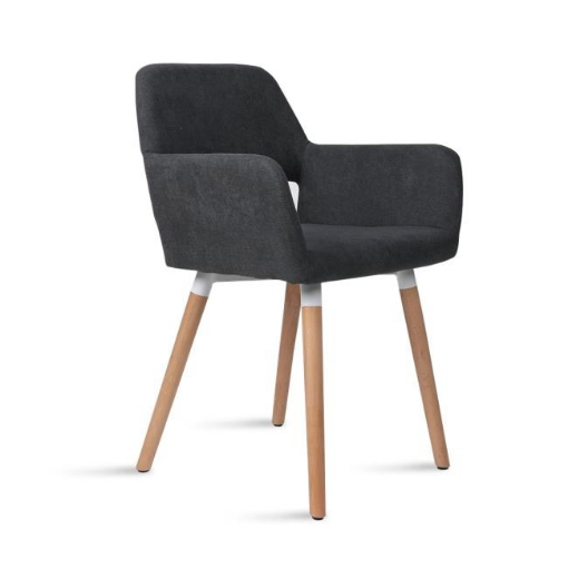 Picture of 2x Dining Chairs Seat French Provincial Lounge Contemporary Chair Dark Grey | Free Delivery