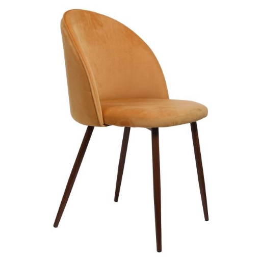 Picture of 2x Dining Chairs Seat French Provincial Kitchen Lounge Chair Mustard   Free Delivery