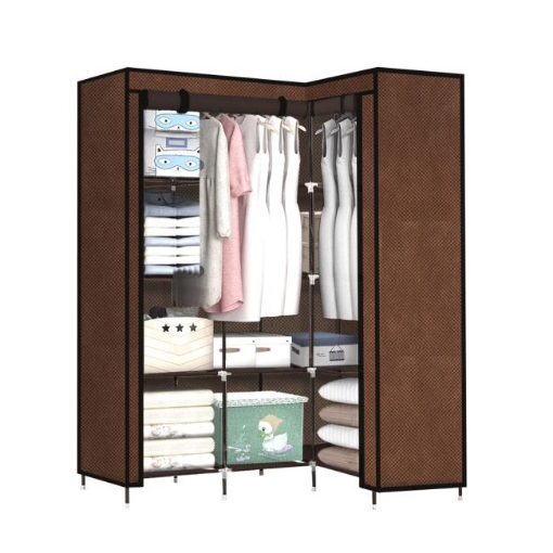Picture of Levede Portable Clothes Closet Wardrobe Space Saver Storage Cabinet Coffee | Free Delivery