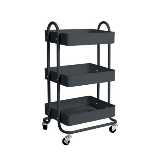 Picture of 3 Tiers Kitchen Trolley Cart Steel Storage Rack Shelf Organiser Wheels Grey | Free Delivery