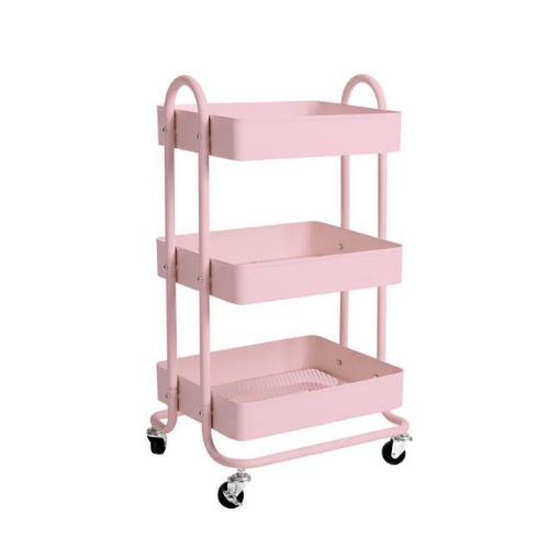 Picture of 3 Tiers Kitchen Trolley Cart Steel Storage Rack Shelf Organiser Wheels Pink | Free Delivery