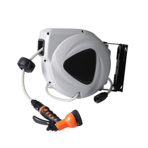 Picture of Garden Hose Reel Retractable Spray Gun Nozzle Water Wall Bracket Auto Rewind 10M | Free Delivery