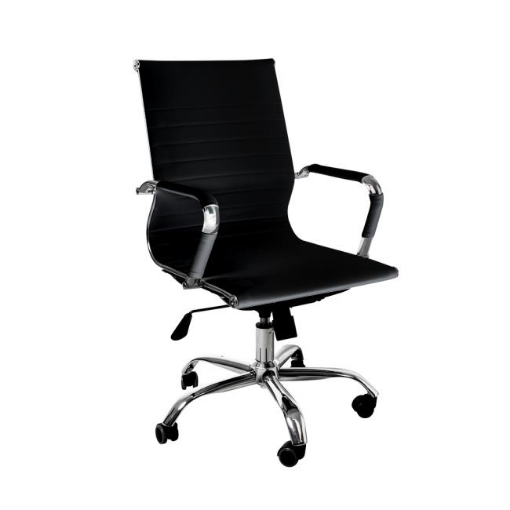 Picture of Office Chair Home Work Study Gaming Chairs PU Mat Seat Mid-Back Computer Black | Free Delivery