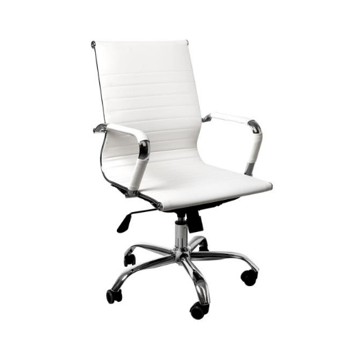 Picture of Office Chair Home Work Study Gaming Chairs PU Mat Seat Mid-Back Computer White | Free Delivery