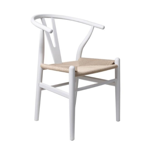 Picture of Set of 2 Dining Chairs Rattan Seat Side Chair Kitchen Wood Furniture White | Free Delivery