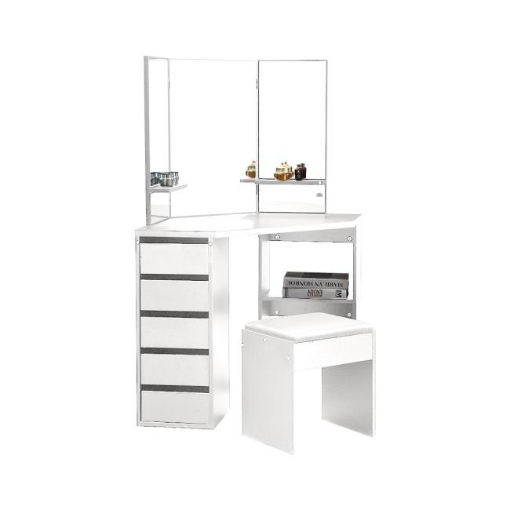 Picture of Levede Dressing Table Stool Mirror Jewellery Organiser Makeup Cabinet 5 Drawers White | Free Delivery