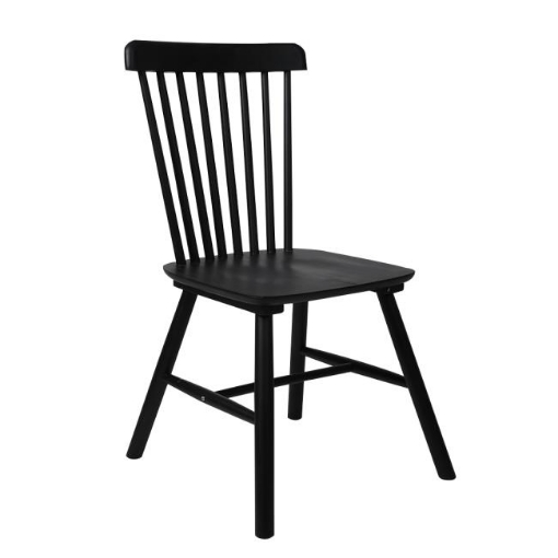 Picture of Set of 2 Dining Chairs Side Chair Replica Kitchen Wood Furniture Black | Free Delivery